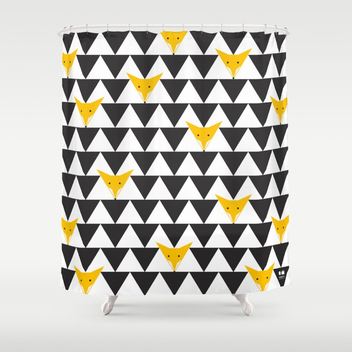 TRIANGLE HIDDEN FOXES PATTERN In Black White And Orange Shower Curtain