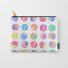Artistic hand painted pink blue green watercolor brush strokes polka dots Carry-All Pouch