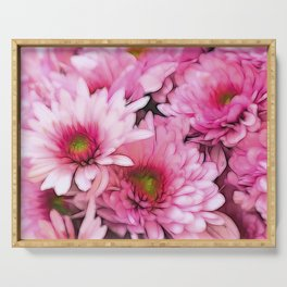chrysanthemums in the garden Serving Tray