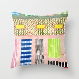 Friendly Pattern Mix On Pink Throw Pillow