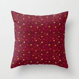Chenille Claret Stars Throw Pillow