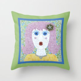 Mosaic - Ingrid Spots Her Soulmate Throw Pillow