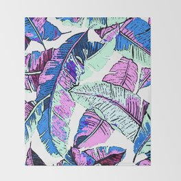 BANANA LEAF PALM PASTEL PINK AND BLUE Throw Blanket