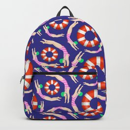 Summer Swimmers in Pink on Navy | Floats | Life Savers | pulps of wood Backpack