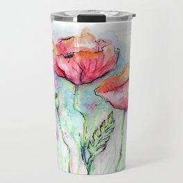 Poppies Watercolor Sketch Red Flowers Travel Mug