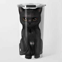 Sweet Black Kitty Cat with Bright Golden Eyes  Travel Mug
