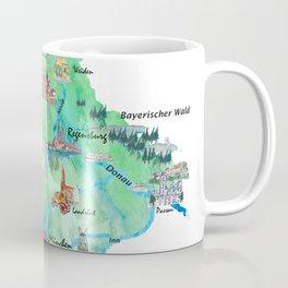 Bavaria Germany Illustrated Travel Poster Map Coffee Mug