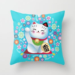 My lucky Kitty Throw Pillow