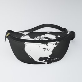 Dymaxion World Map (Fuller Projection Map) - Minimalist White on Black Fanny Pack