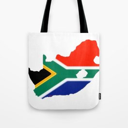 South Africa Map with South African Flag Tote Bag