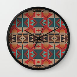 Native American Indian Tribal Mosaic Rustic Cabin Pattern Wall Clock