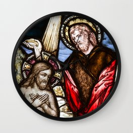 Baptism of Jesus Christ Stained Glass Window Wall Clock
