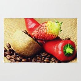 Coffee beans Kivi strawberry pepper Rug