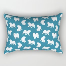 Samoyed Pattern (Blue Background) Rectangular Pillow
