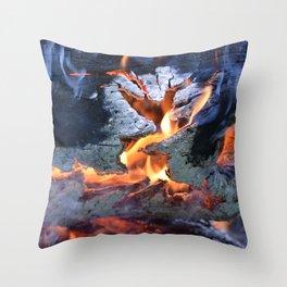 black white and flame Throw Pillow