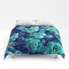 Plants of Blue And Green Comforters