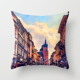 Cracow Florianska street Throw Pillow