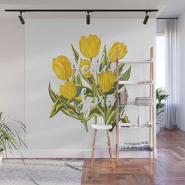 Hello Spring | Yellow tulips Wall Mural