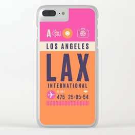 Retro Airline Luggage Tag - LAX Los Angeles Clear iPhone Case