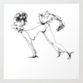 Girl with feather tail Art Print
