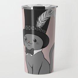 Grey Cat Wears Plumed Top Hat Travel Mug