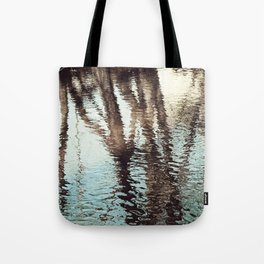 Blue Brown Abstract Water Reflections Photography, Water Ripples Tree Lake Reflection Photo Tote Bag