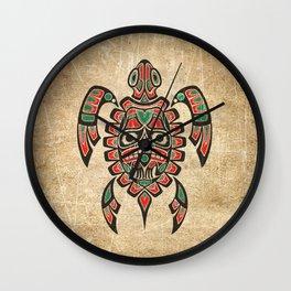 Vintage Red and Green Haida Spirit Sea Turtle Wall Clock