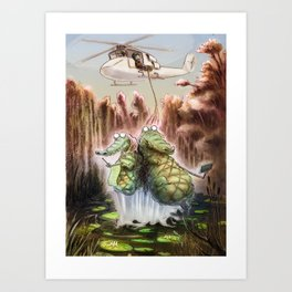 Crocodile selfies Art Print