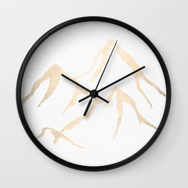 Adventure White Gold Mountains Wall Clock