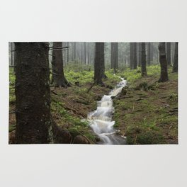 Mountains, forest, rain - water Rug