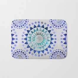 Mandala Pattern blue and turquoise Bath Mat