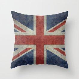 England's Union Jack, Dark Vintage 3:5 scale Throw Pillow