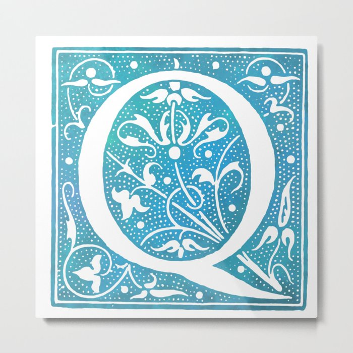 Letter Q Antique Floral Letterpress Monogram Metal Print