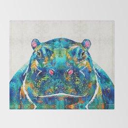Hippopotamus Art - Happy Hippo - By Sharon Cummings Throw Blanket