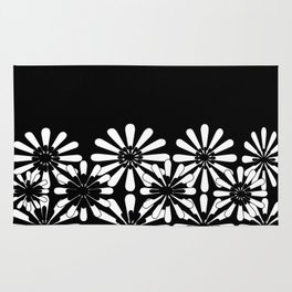 Black and White Floral Pattern Rug
