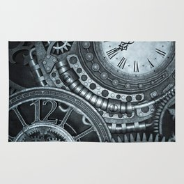 Silver Steampunk Clockwork Rug