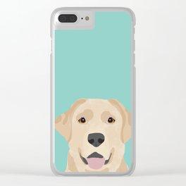 Yellow Lab dog portrait labrador retriever dog art pet friendly Clear iPhone Case