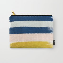 Esther - navy mint gold painted stripes brushstrokes minimal modern canvas art painting Carry-All Pouch