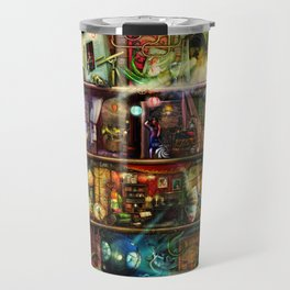 The Fantastic Voyage - a Steampunk Book Shelf Travel Mug