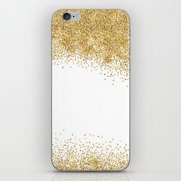 Sparkling golden glitter confetti effect iPhone Skin