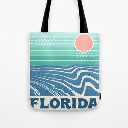 Florida - retro travel poster 70s throwback minimal ocean surfing vacation beach Tote Bag
