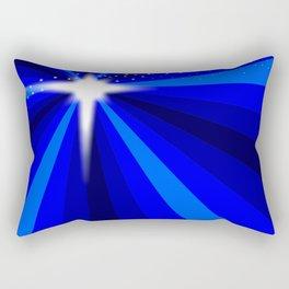 Blue Christmas Star Rectangular Pillow