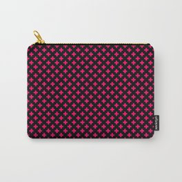 Small Hot Neon Pink Crosses on Black Carry-All Pouch