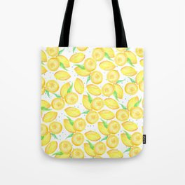 Sunshine yellow orange blue watercolor lemon fruit pattern Tote Bag