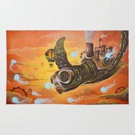 flying  steampunk turtle Rug