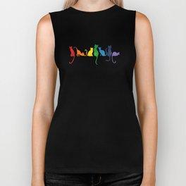 Catch A Rainbow - Cats on a Wall Biker Tank