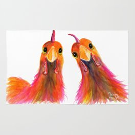 Happy Hens Chickens ' HARRIET & HUMBUG 2 ' by Shirley MacArthur Rug