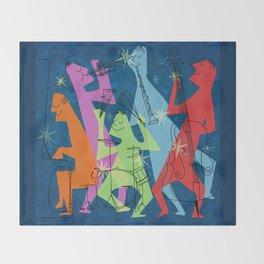 Mid-Century Modern Jazz Band Throw Blanket