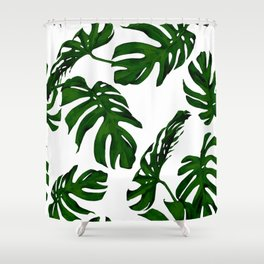 Simply Tropical Palm Leaves in Jungle Green Shower Curtain