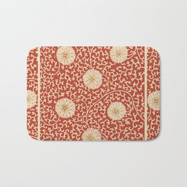 70's Red Floral Bath Mat